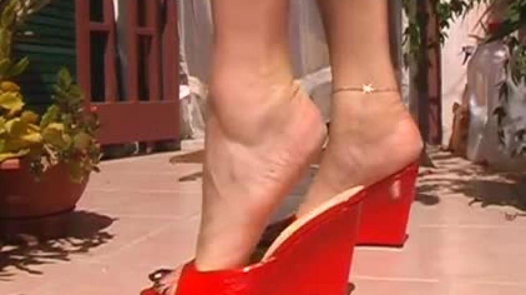 Red open toed platform wedges