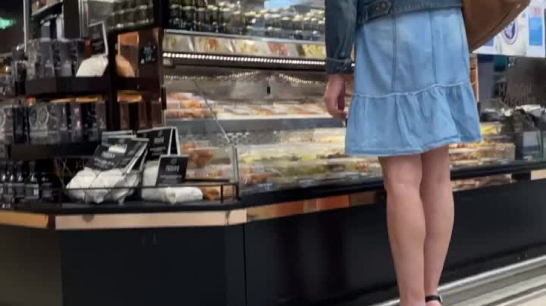 Sexy milf shopping in wedges High heels and jean skirt