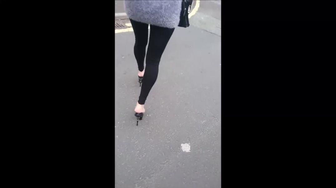 walking in public in sexy Stripper Mules