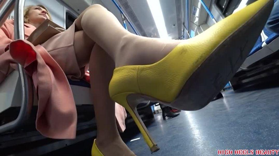 Yellow heels milf