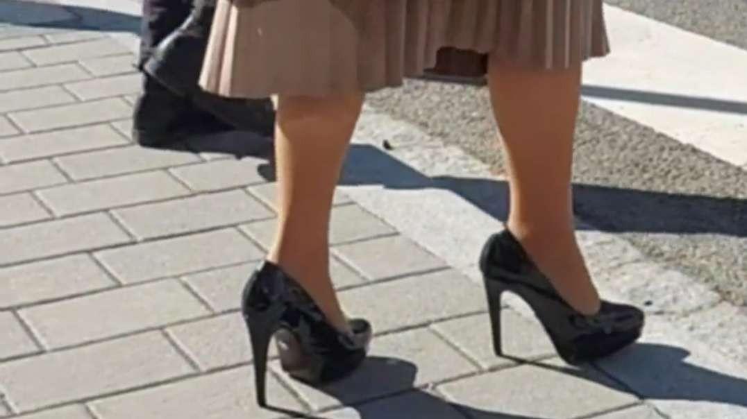 Sexy high heels crossing the street