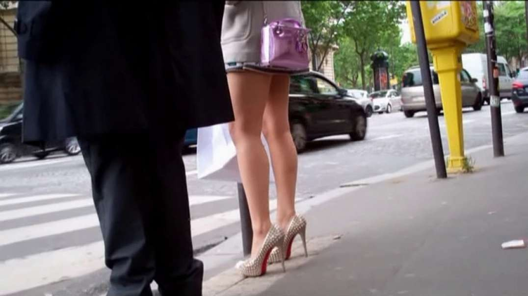 Pretty Asian in mini dress and hot high heels louboutins