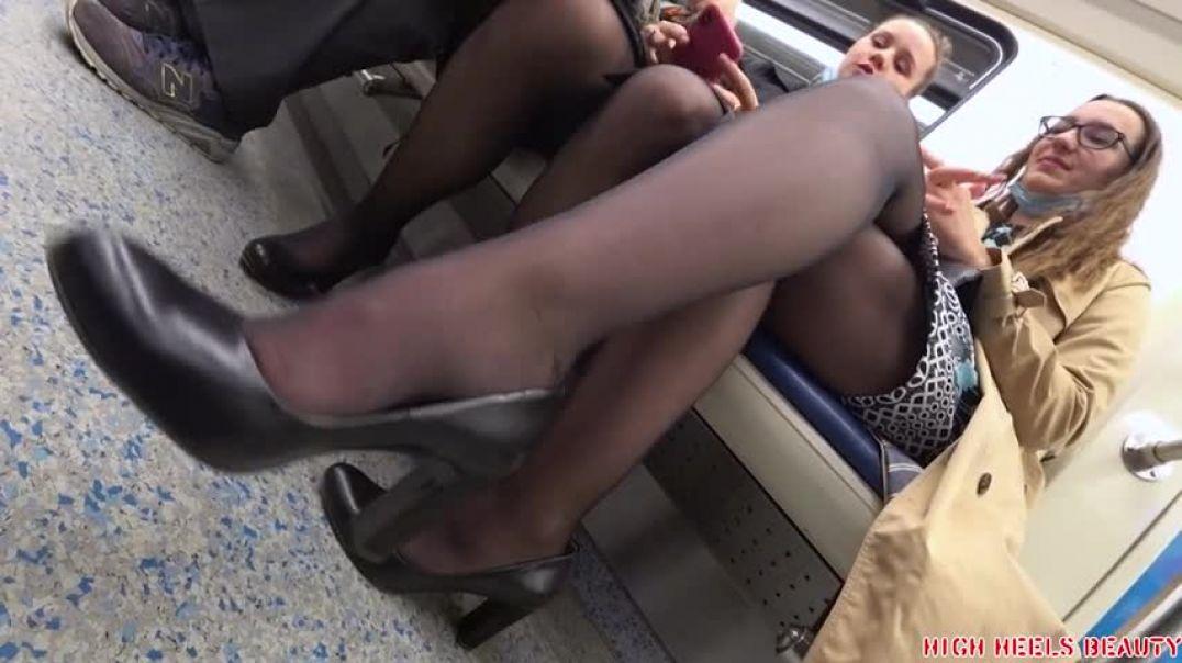Nylon legs girl
