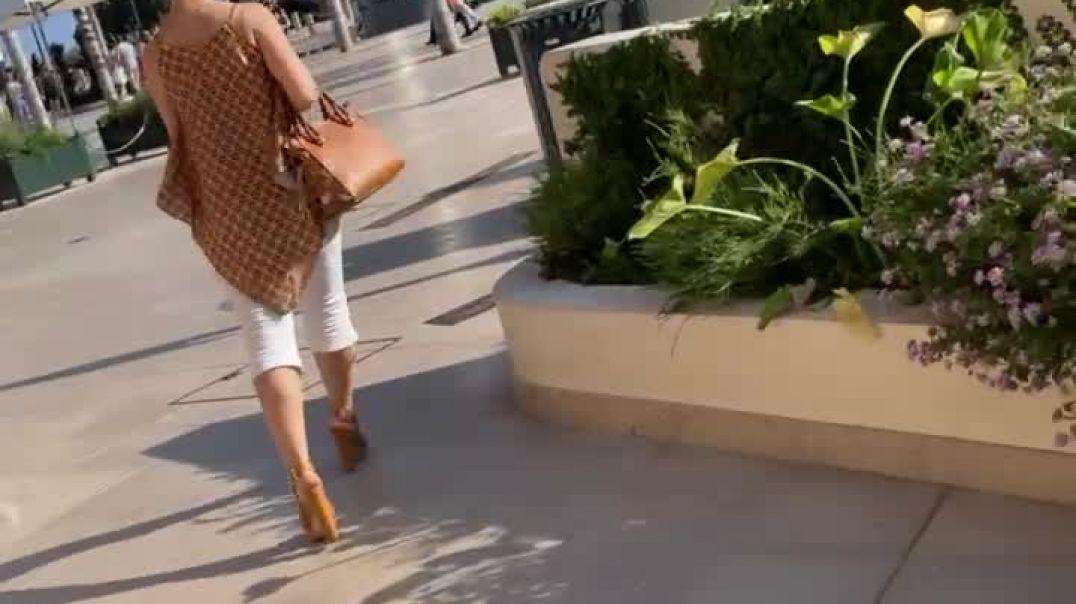 Candid Italian Milf in Monaco with sexy Camel High heels
