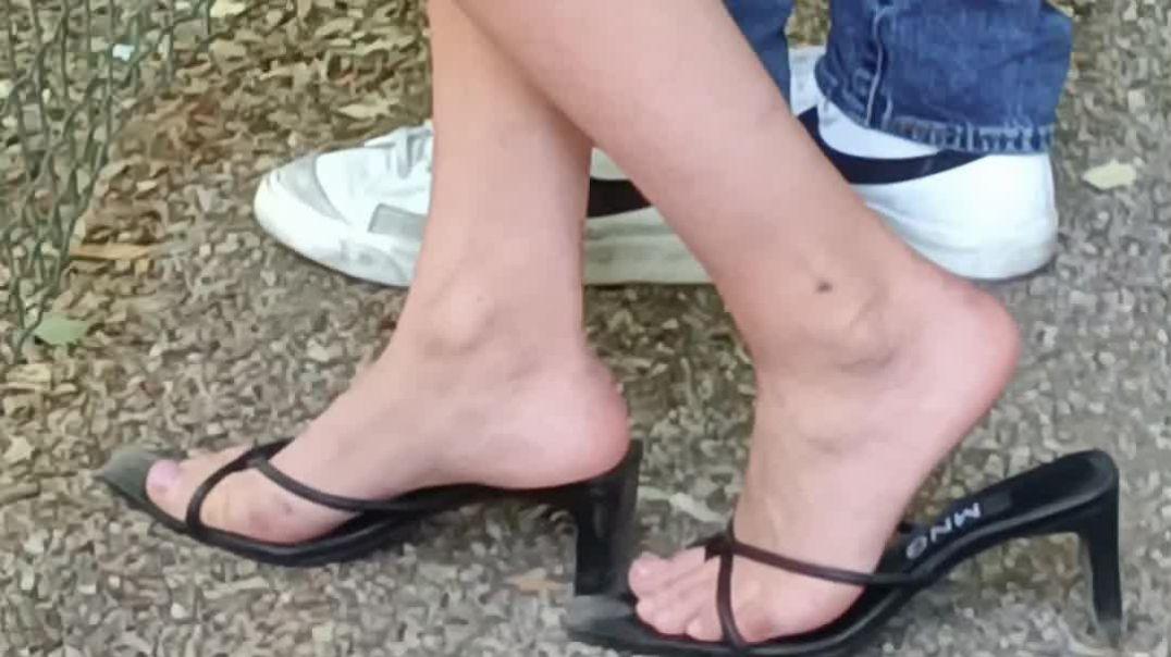 Black Thong Heels at the Park