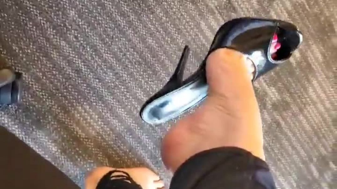 Mules dangling with sexy anklet - sexy feet - red nails - teasing