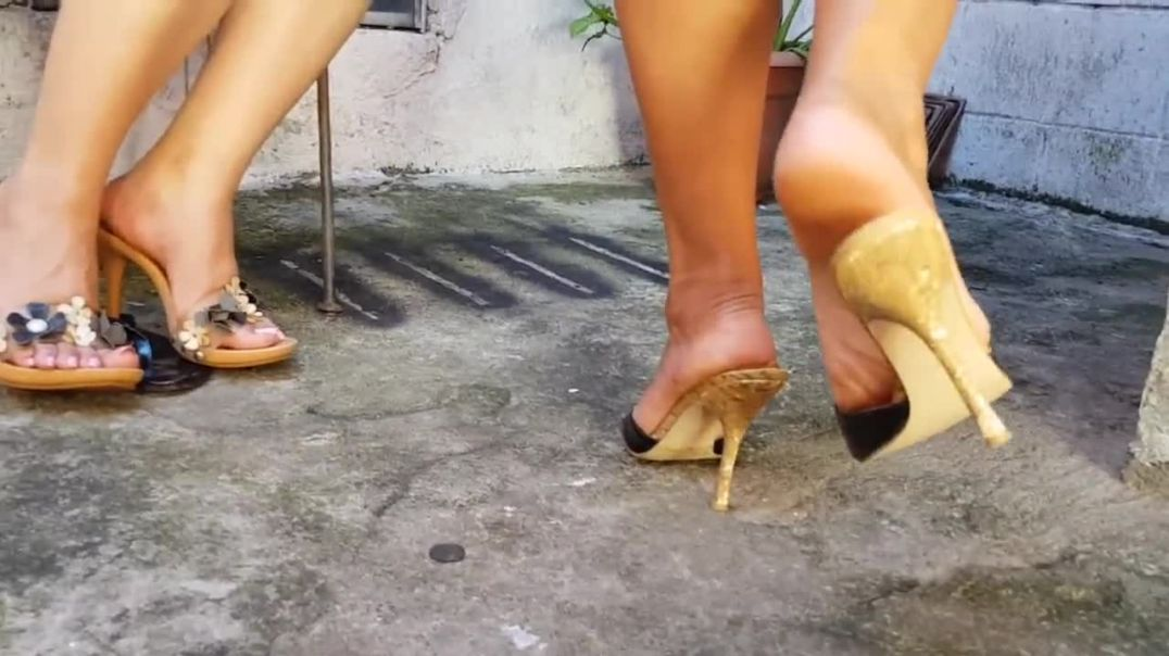 Double trouble - two girls teasing with her wooden mules - shoeplay - walk - sexy feet