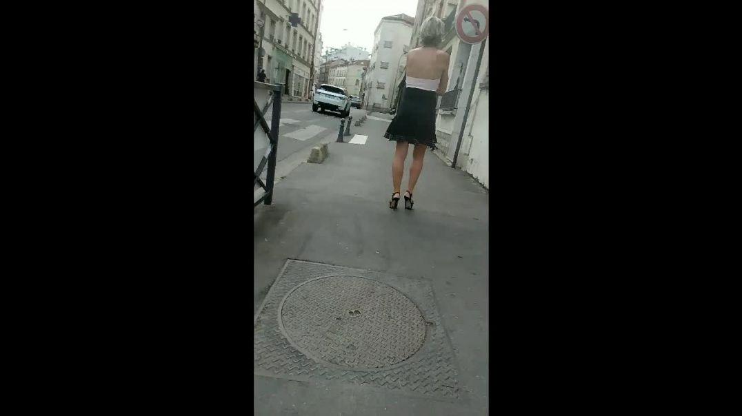 blonde in platform high heels sandals