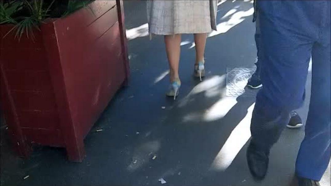 white high heels granny