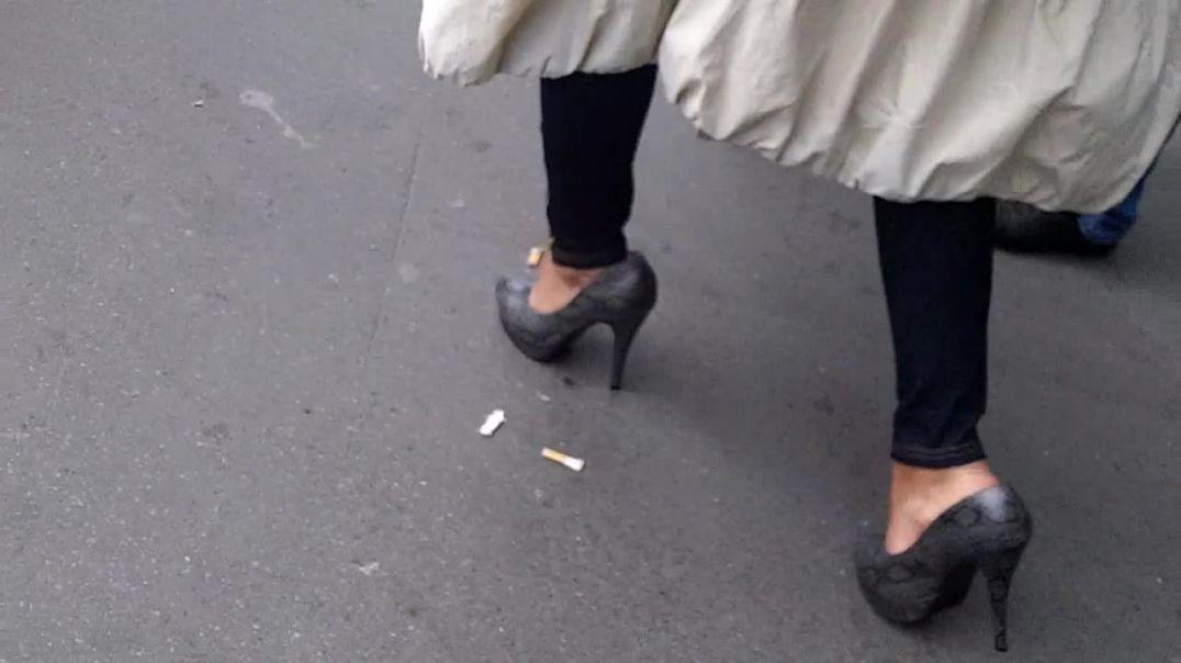 grey platform heels