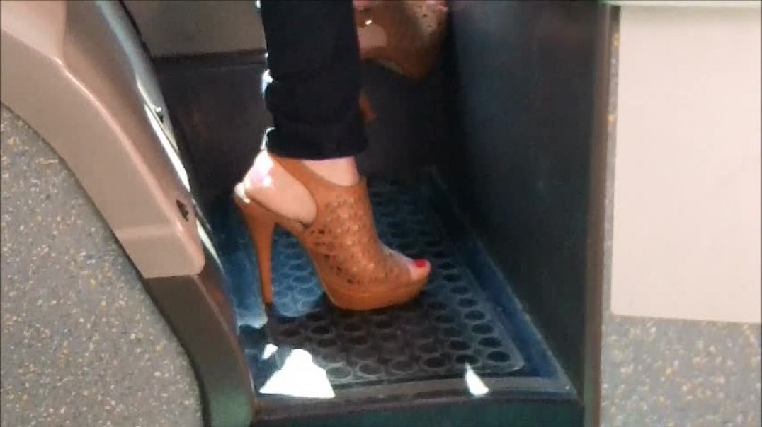 high heels sandals in the bus