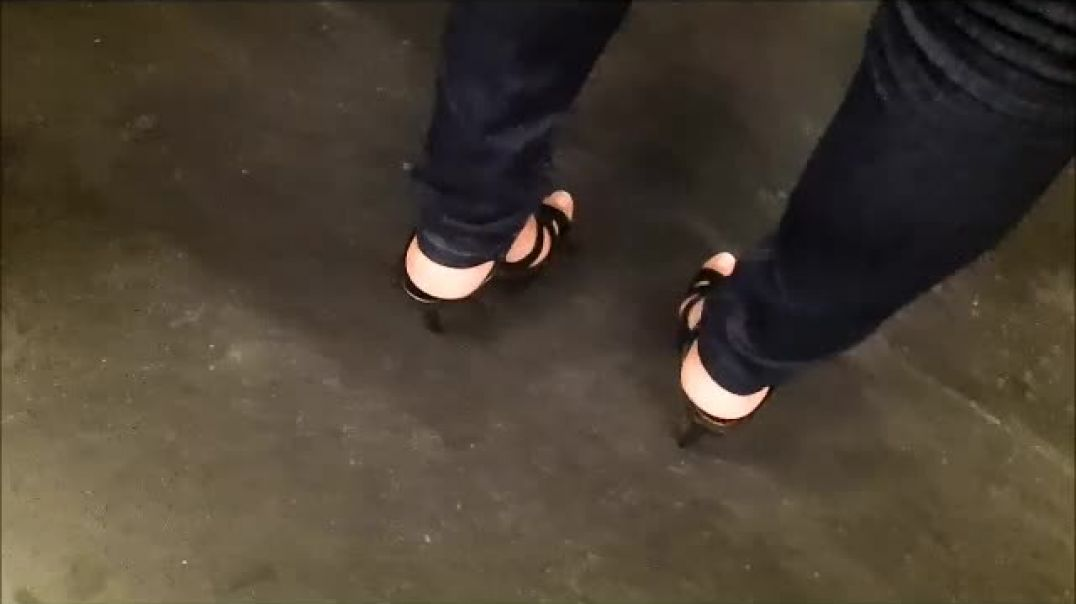 black platform high heels mature