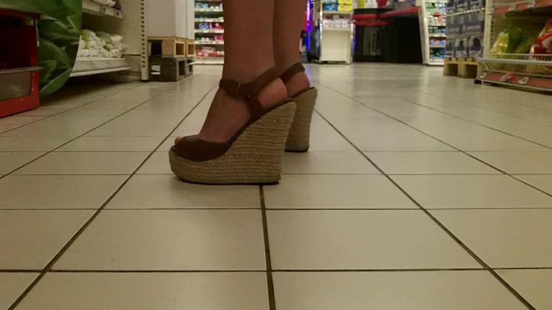 platform wedges high heels at supermarket