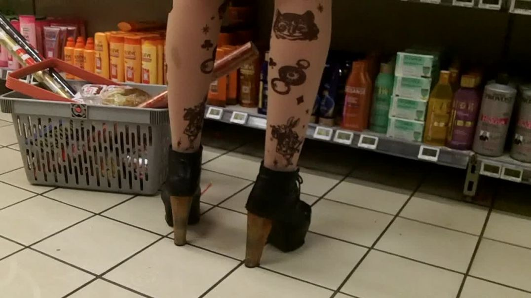 wooden high heels boots and mini skirt
