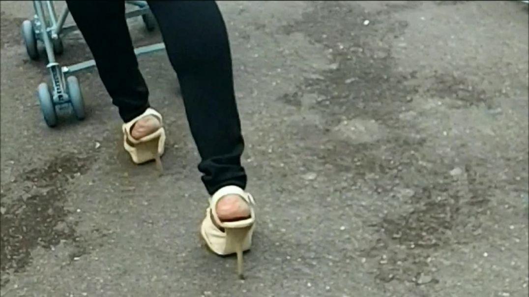 ebony white high heels sandals