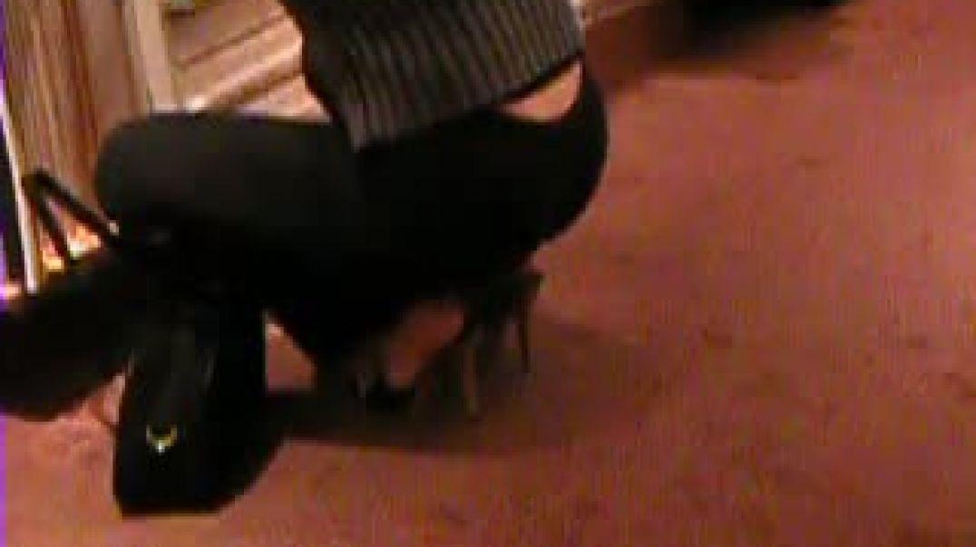 blue high heels wooden mules