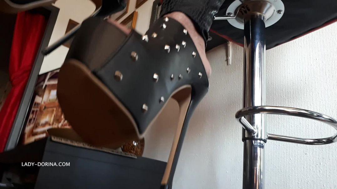 Lady Dorina black catsuit & mules_SN