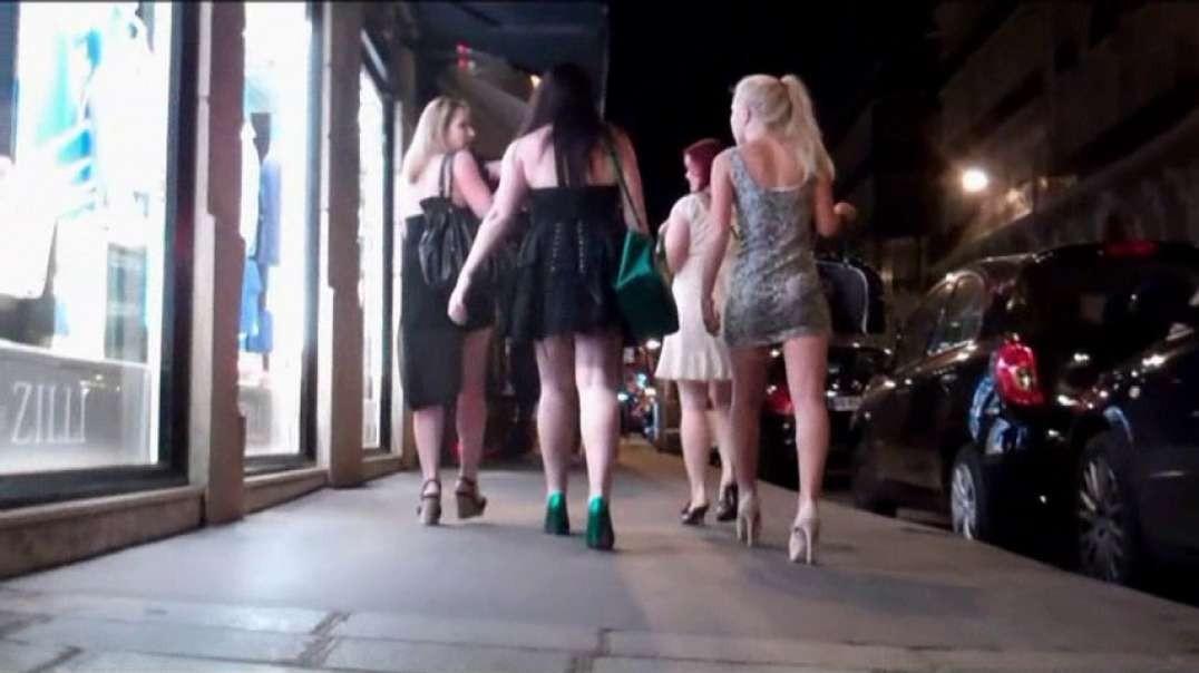 Pretty Blonde in mini dress and white high heels