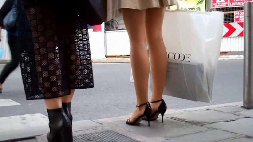 Pretty Blonde in raincoat and mini dress and high heels
