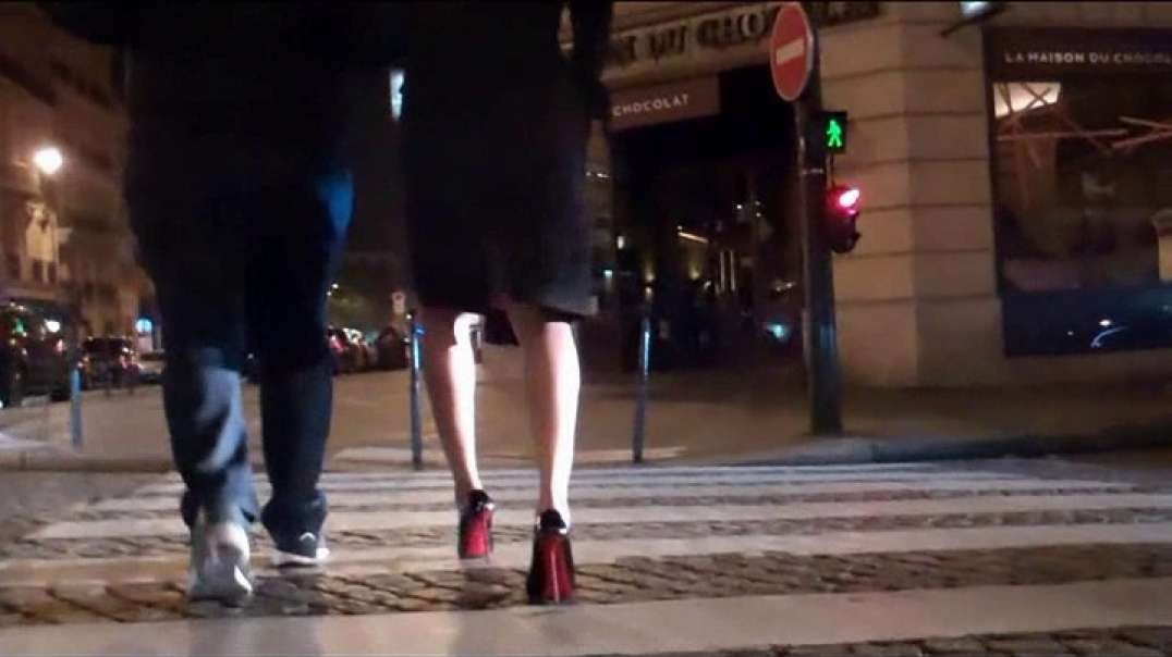 Brunette with high heels louboutins