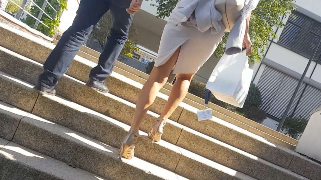 Hot legs on stairs