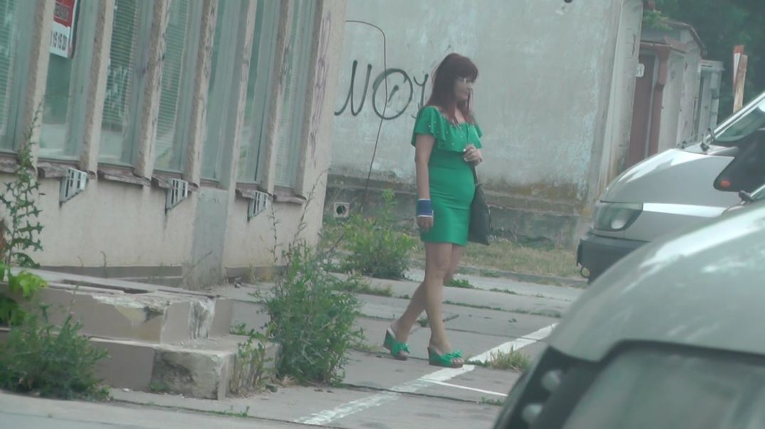 Candid Pervert (Green Dress and Wedges)
